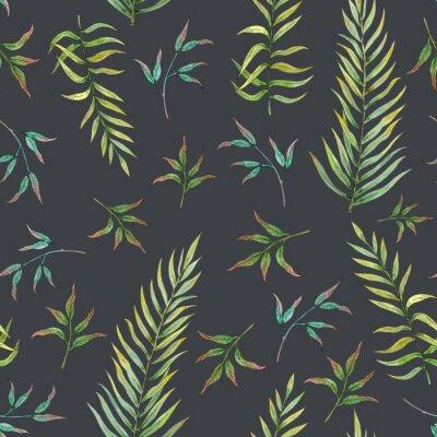 Фотообои бесшовные модели с тропическими листьями на темном фоне