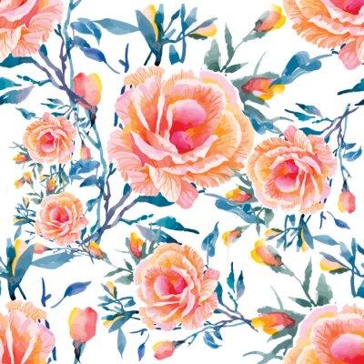 Фотообои Бесшовные модели с красивыми цветами, акварель иллюстрации
