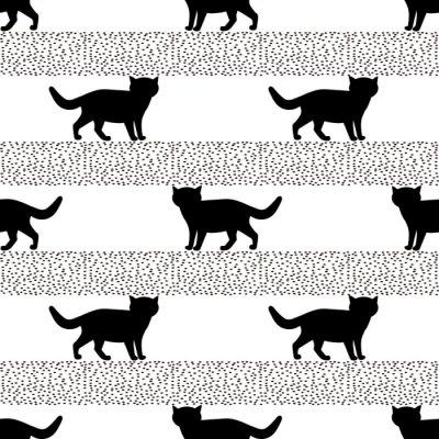 Фотообои Бесшовные модели с силуэтами черного кота.