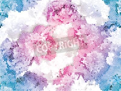 Фотообои Seamless peony mosaic. Pink blue flower pattern. Peony texture
