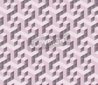 Фотообои бесшовные розовый 3d Изометрические куб бесшовные модели. Абстрактные цифровой красочные геометрические фон.