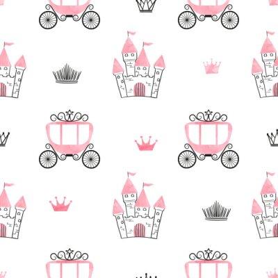 Фотообои Бесшовный узор принцессы с замками, коронами и колясками. Векторный фон.