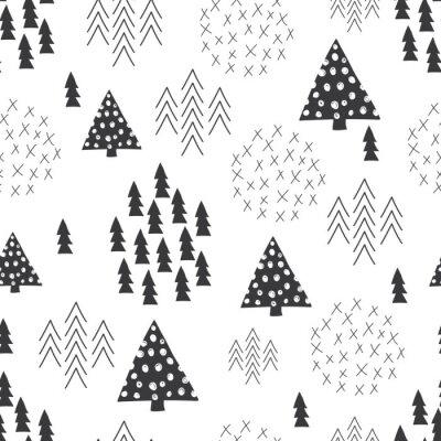Фотообои Бесшовные Скандинавский стиль простой иллюстрации Рождественская елка фон