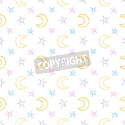 Фотообои Бесшовные мягкие звезды и луна baby night background. Рисунок сладких снов