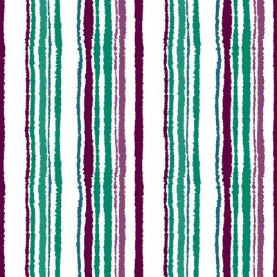 Фотообои Бесшовные полосы. Вертикальные линии с эффектом рваной бумаги. Shred край фона. Холод, контраст, бирюзовый, зеленый, бордовый, фиолетовый, белый цвета. Зимняя тема. Вектор