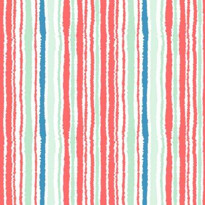 Фотообои Бесшовные полосы. Вертикальные линии с эффектом рваной бумаги. Shred край фона. Холодные, мягкие, зеленый, синий, красный, белый цвета. Зимняя тема. Вектор