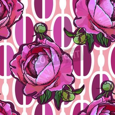 Фотообои Seamless trend pattern - peony flower on ornamental background. Vintage style