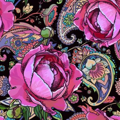 Фотообои Seamless trend pattern - peony flowers and paisley.