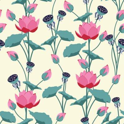 Фотообои Seamless vector illustration with delicate lotus flowers.