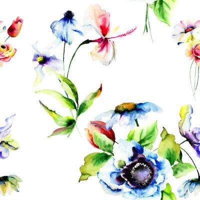 Фотообои Бесшовные обои с стилизованные цветы
