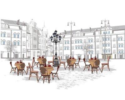 Фотообои Серия фонов, украшенный со старыми видом на город и уличных кафе. Рука обращается векторные иллюстрации.