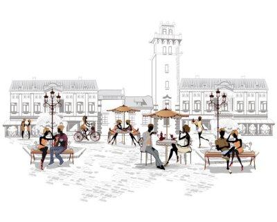 Фотообои Серия уличных кафе в городе с людей, пьющих кофе