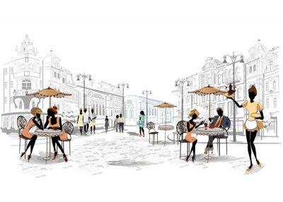 Фотообои Серия видом на улицу в старом городе с кафе