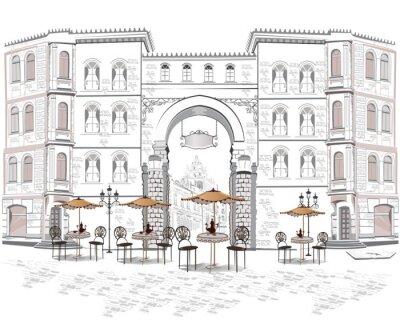 Фотообои Серия уличных кафе с видом на старый город