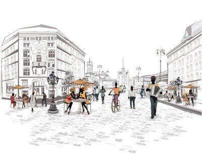 Фотообои Серия видом на улицу с людьми в старом городе