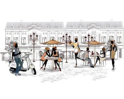 Фотообои Серия из улиц с людьми и музыкантами в старом городе