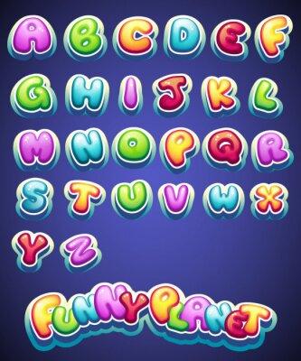 Фотообои Набор мультфильм цветные буквы для оформления разными именами