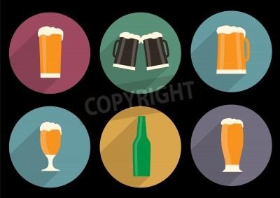 Фотообои набор плоских иконок пива с длинной тенью
