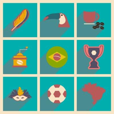 Фотообои Набор плоских иконок с длинной тенью Бразилии