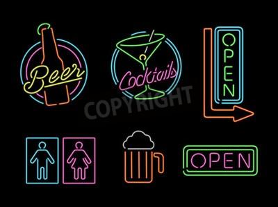 Фотообои Набор ретро стиль неоновые иконки свет наброски знак для бара, пива, открытого бизнеса, коктейль и символ ванной.