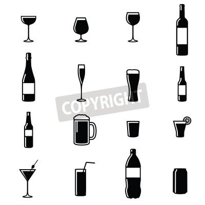 Фотообои Набор из Шестнадцать Напитки Черный Белый силуэт векторные иллюстрации