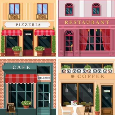 Фотообои Набор векторных подробные ресторанов плоский дизайн и кафе фасада икон. Прохладный графический дизайн экстерьера для ресторанного бизнеса.
