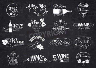 Фотообои Набор винных этикеток, значков и логотипов для дизайна над доске. Векторная иллюстрация.