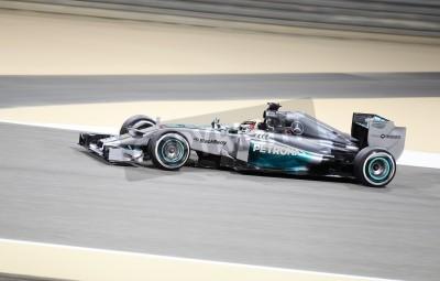 Фотообои ШАКИР, Бахрейн - апреля 04: Льюис Хэмилтон Mercedes гонок во время практики сессии пятницы, 4 апреля 2014, Формула 1 Gulf Air Гран-при Бахрейна 2014
