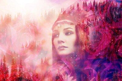 Фотообои Shaman woman in winter landscape, artist collage.