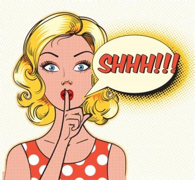 Фотообои Тссс пузырь. Закалывать женщина, надевая ее указательный палец к губам для спокойной тишине. Поп-арт стиле комиксов. Векторная иллюстрация