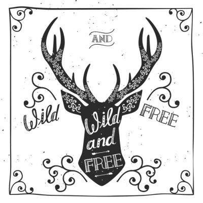 Фотообои Силуэт оленя. Ручной обращается типографика плакат, открытка, для футболки дизайна