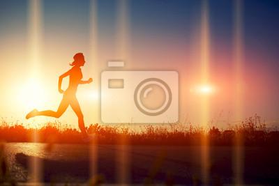 Фотообои Силуэт спортивная девушка бежала красивая дорога