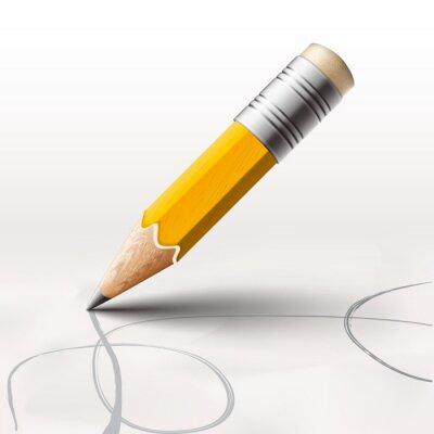 Фотообои Простой карандаш на белом фоне, векторные иллюстрации eps10.