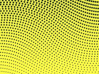 Фотообои Простой ретро волнистым узором полутонов черных звезд на желтом ба