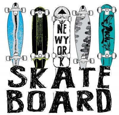 Фотообои Скейтборд типографика, футболки графика