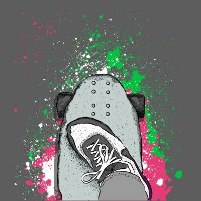 Фотообои Скейтер на скейтборде. Гранж фон с кляксами. Векторная иллюстрация