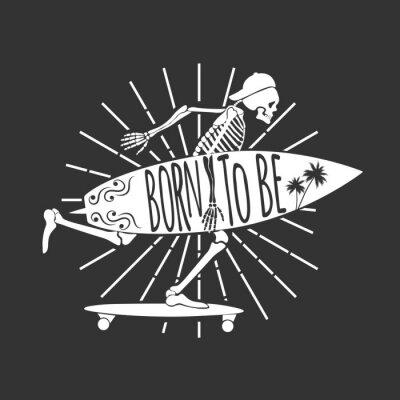 Фотообои Скелет-серфер. Логотип. Рожден, чтобы быть. Векторные иллюстрации