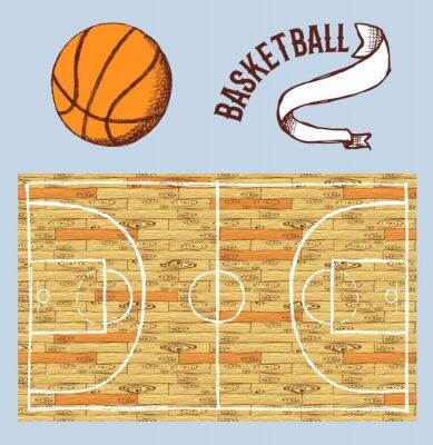 Фотообои Эскиз набор баскетбол с кортом и мячом