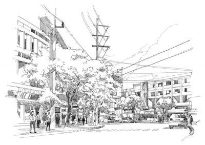 Фотообои эскиз чертеж города street.Illustration.