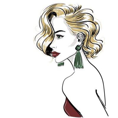 Фотообои Эскиз классической белокурой женщины с волосами