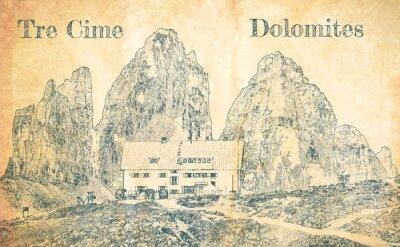 Фотообои Sketch of Dreizinnen hut in Tre Cime, Dolomites
