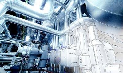 Фотообои Эскиз проектирования трубопроводов, смешанной с промышленного оборудования фото