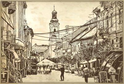Фотообои эскиз векторные иллюстрации Ужгородского городского пейзажа