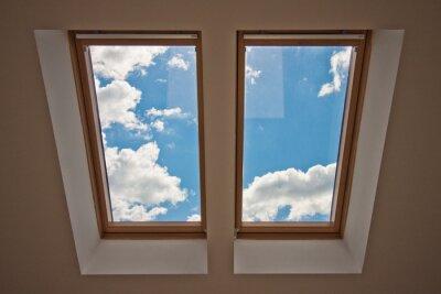 Фотообои Мансардные. Вид из окна. Вид на небо из окна. Окно на крыше. Солнечный свет через мансардное окно. Свет в доме