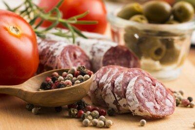 Фотообои ломтики колбасы испанской свинины