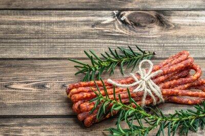 Фотообои Копченая колбаса kabanos - традиционная тонкая колбаса