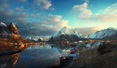 Фотообои снег в Reine Village, Лофотенских островах, Норвегия