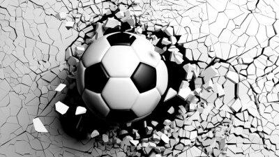 Фотообои Футбольный мяч разбивается силой через белую стену. 3d иллюстрации.