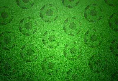 Фотообои Футбольные мячи узор на зеленом фоне травы. Концептуальная футбол копия пространства фон.