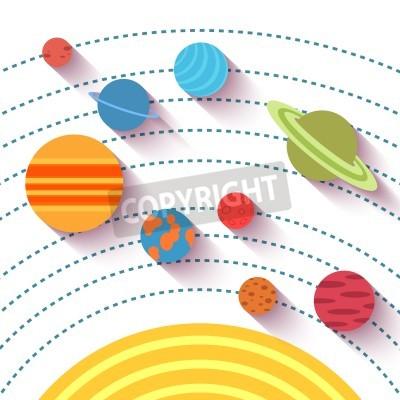 Фотообои Солнечной системы и космических объектов. Векторный набор в плоском стиле.